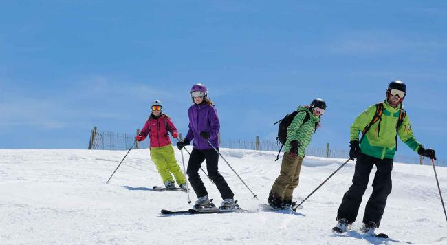 skiers and boarders