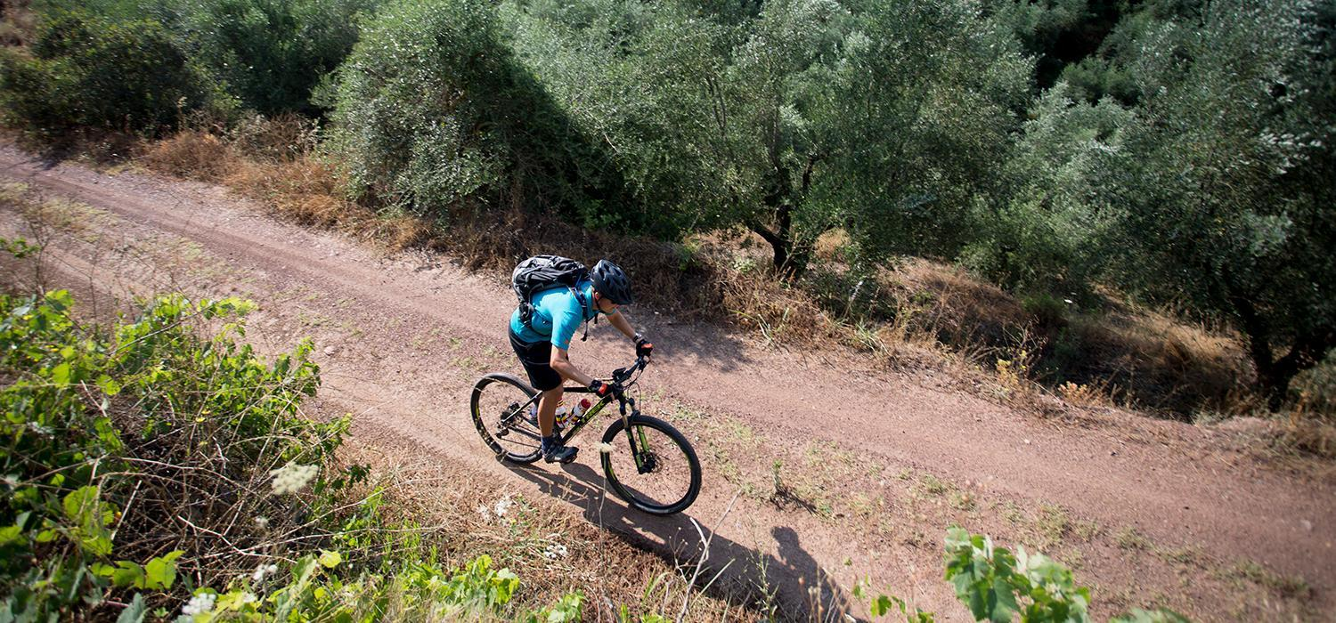 mountain biking at Messini Beachclub