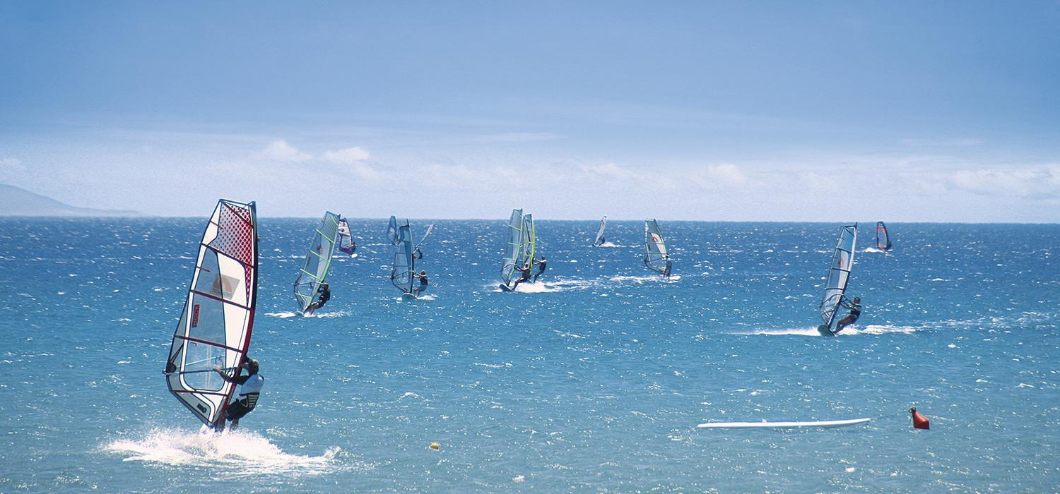 windsurfing at Cosmos beachclub