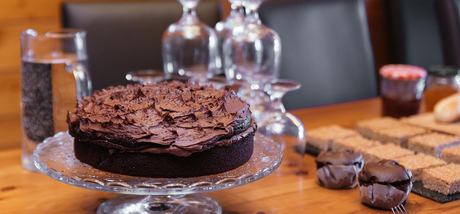 chocolate cake in chalet