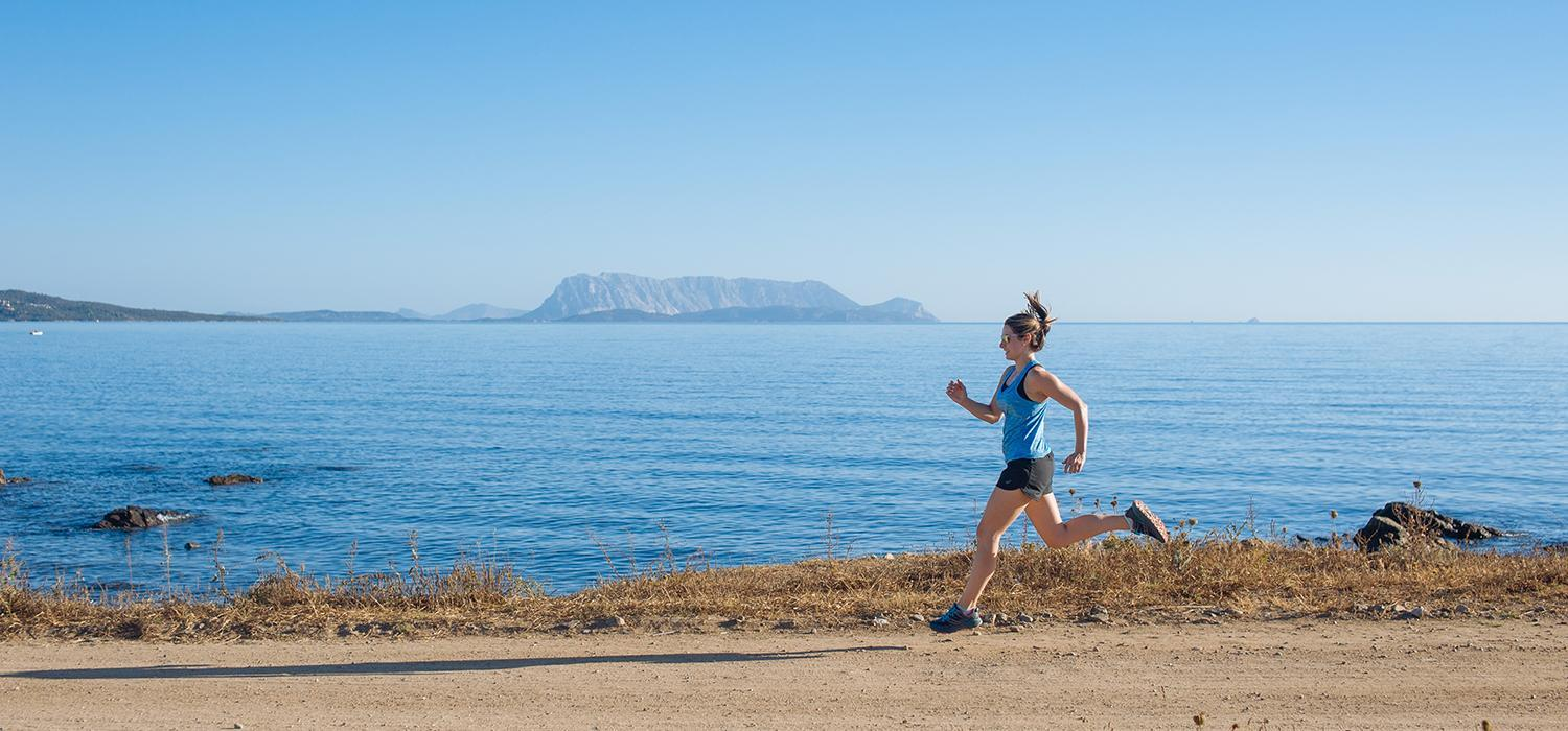 running on beachfront in Sardinia