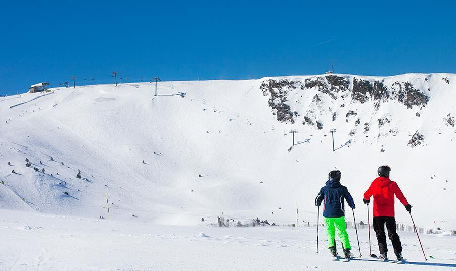 Couple skiing in Andorra