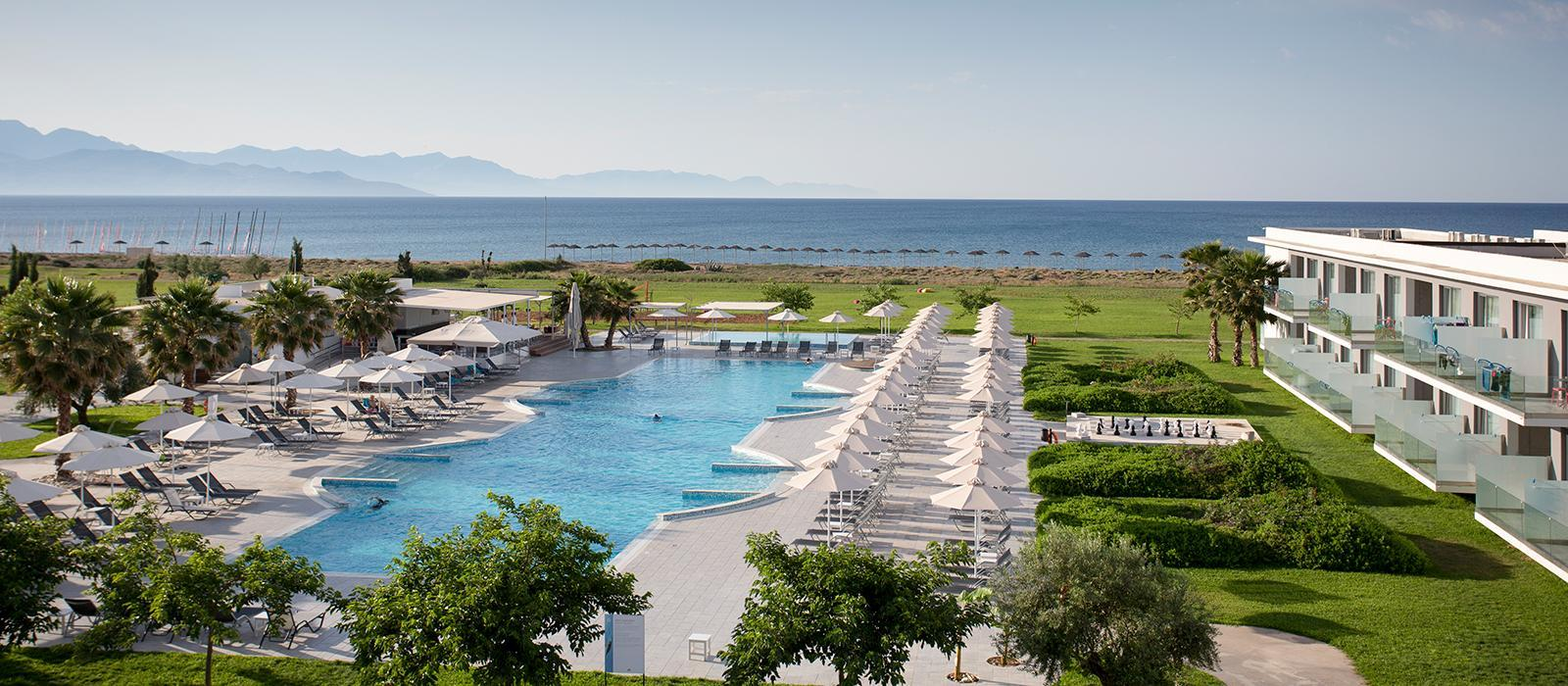 View of messini beachclub and pool in Greece