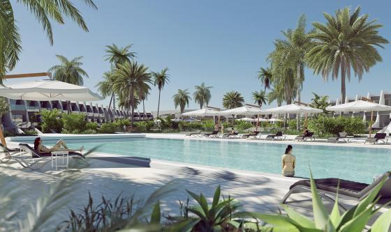 Artist's impression of pool area and hotel exterior